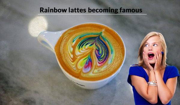 Rainbow coffee latte